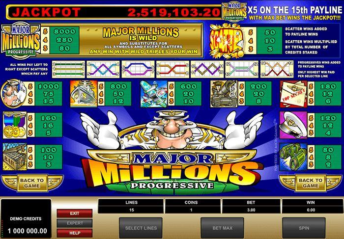Microgaming Major Millions classic slot with Progressive Jackpot