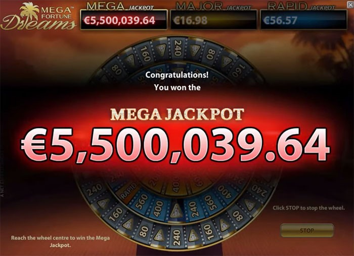 Jackpot announcement in Mega Fortune Dreams with Progressive Jackpot from NetEnt