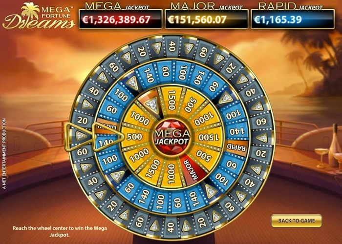 Bonus round in Mega Fortune Dreams from NetEnt with Progressive Jackpot