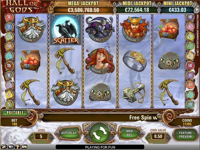 Screen of Hall of Gods from NetEnt with Progressive Jackpot