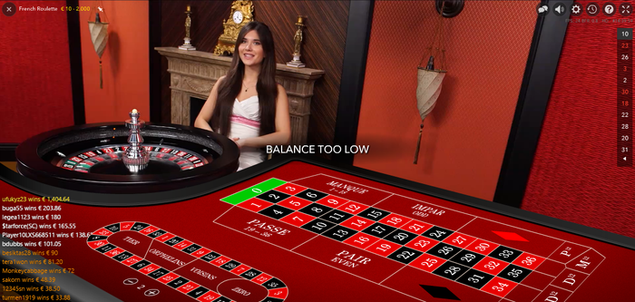French roulette from Evolution screenshot