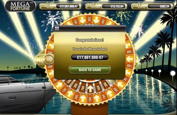 Mega Fortune jackpotu 'nun ekran görüntüsü