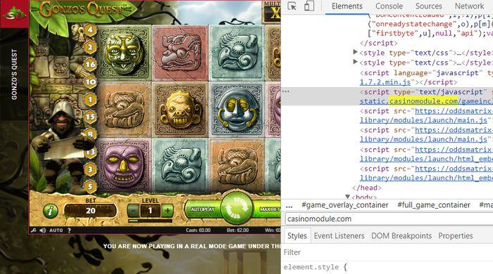 Gonzo's Quest NetEnt view code