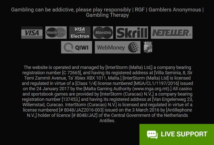 Данные о лицензии онлайн казино PlayShagriLa.com