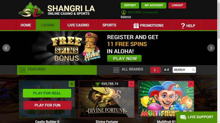 Shangri La online casino licensed slot machines