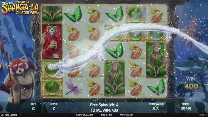 Дух дракона на горе активирует Free Spins в Legend of Shangri-La