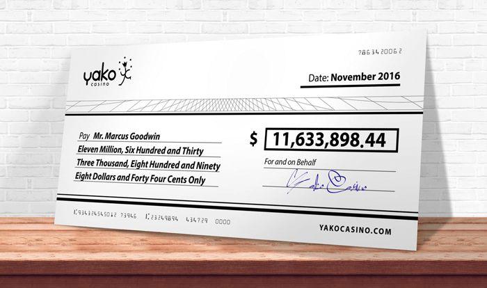 November 2016, the Mega Moolah jackpot, $ 11.6 million for the MG
