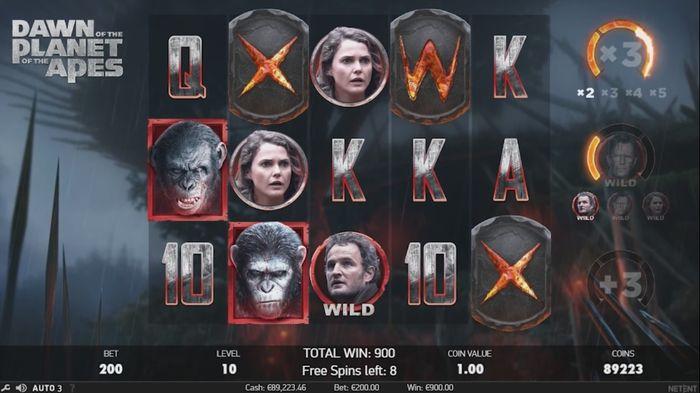 Заполнение счетчиков в раунде Dawn Free Spins слота Planet of the Apes