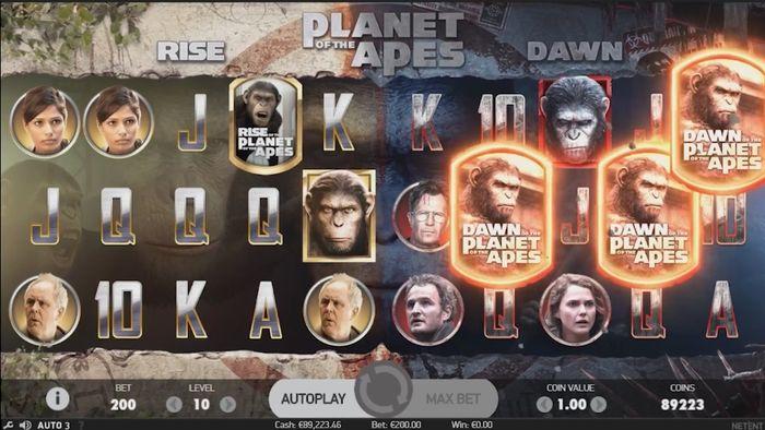 Запуск бонусной функции Dawn Free Spins в слоте Planet of the Apes