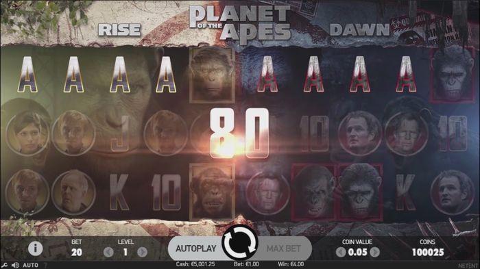 Выигрышная комбинация в Planet of the Apes