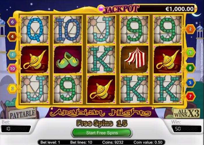 Arabian Nights 'ta Oynamak: ekranda 3 çırak 15 bedava döndürme sunar