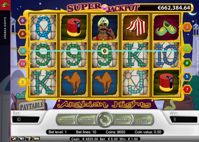 Arap Geceleri makinesi: Kazanç kombinasyonu