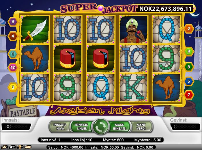Arabian Nights jackpot won by Norwegian player
