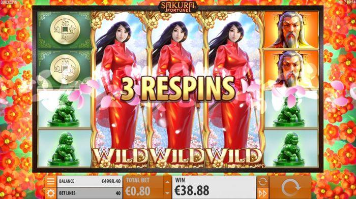 Sakura Fortune slotu: Respin funksyonu