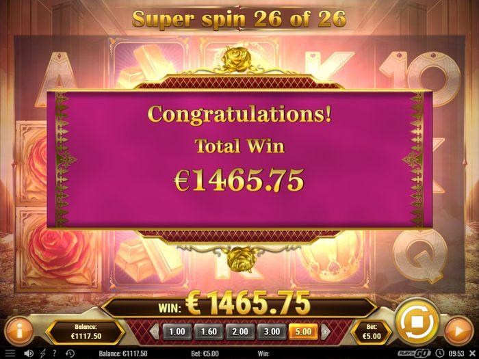 Размер выигрыша в раунде бесплатных вращений в Gold King