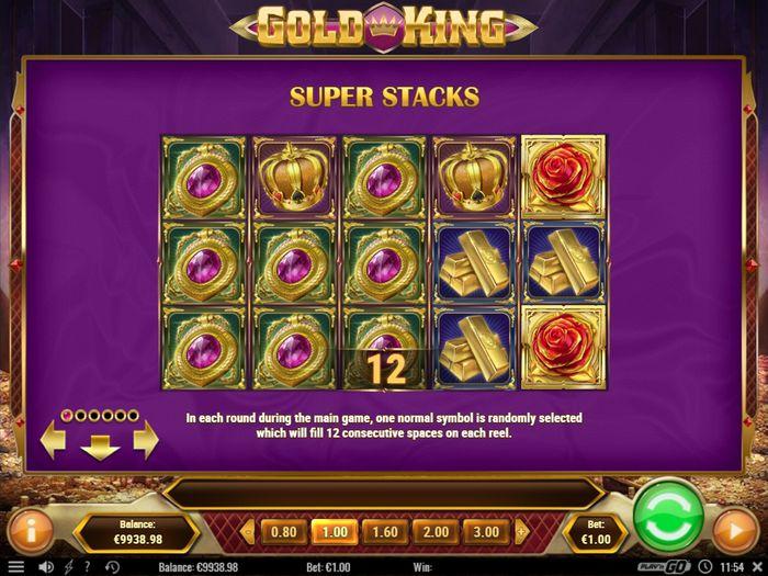 Слот Золотой король: описание Super Stack