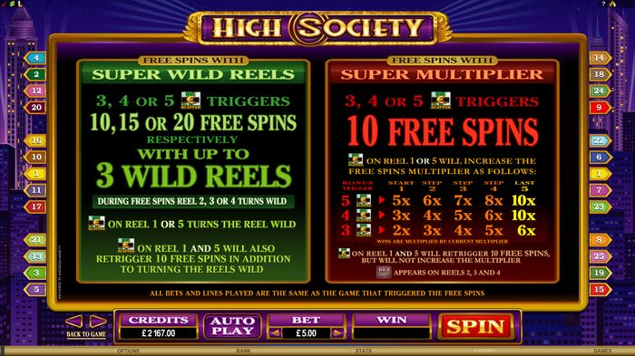 High Society: bonus games