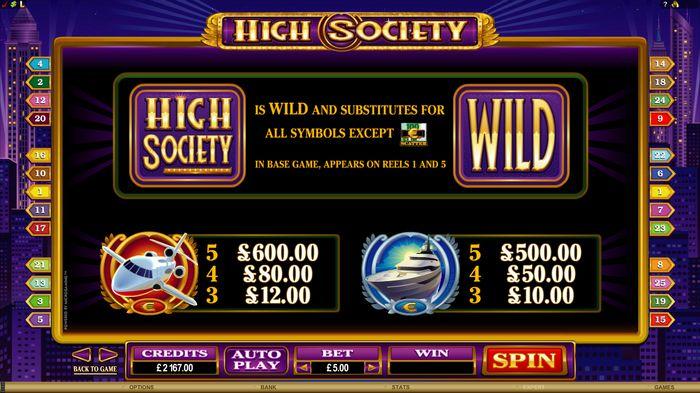 High Society: wild symbol
