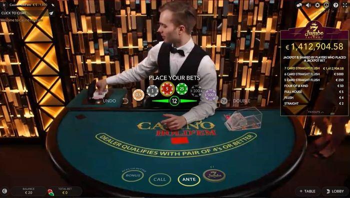 Live Casino Hold'em Evolution: starting menu