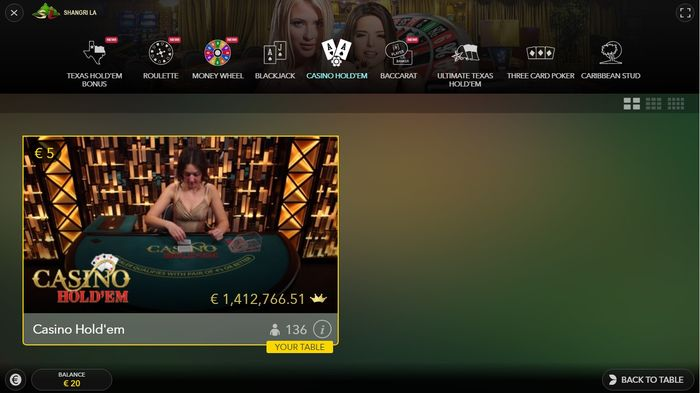 Live Casino Hold'em Evolution Lobby