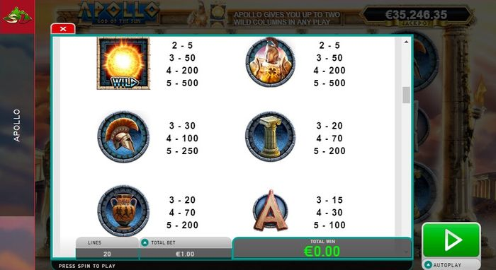 Apollo God of the Sun slot: high symbols