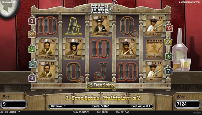 Dead or Alive slot: 5 more free spins