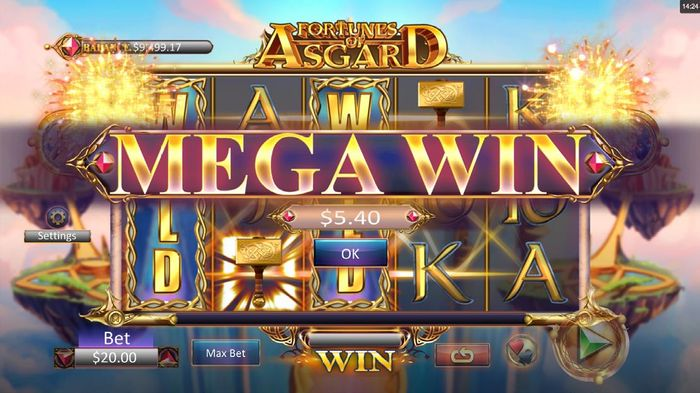 Play Fortunes of Asgard with mega wins
