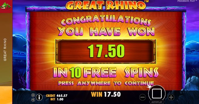 Great Rhino Pragmatic Play: free spin win