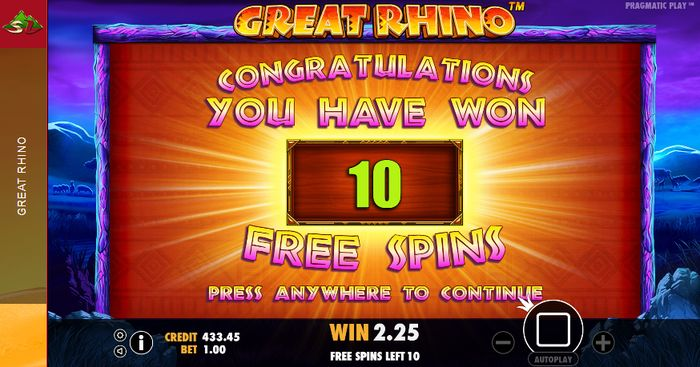 Great Rhino Slot: 10 free spins