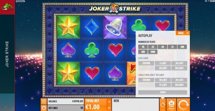 Joker Strike slot settings