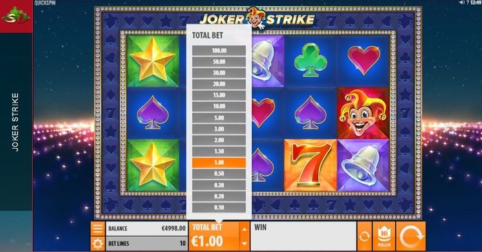 Joker Strike slot: bet level