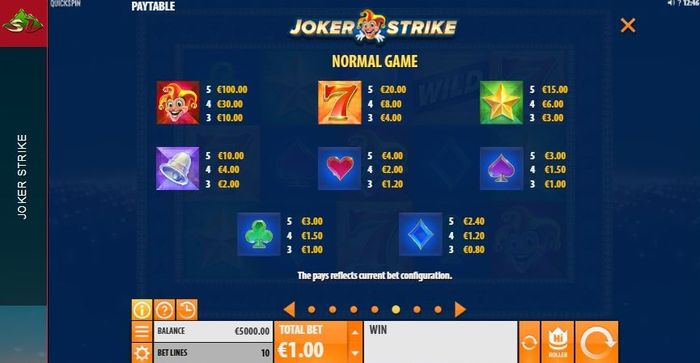 Joker Strike slot: game symbols