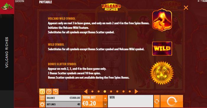 Volcano Riches slot: bonus symbols