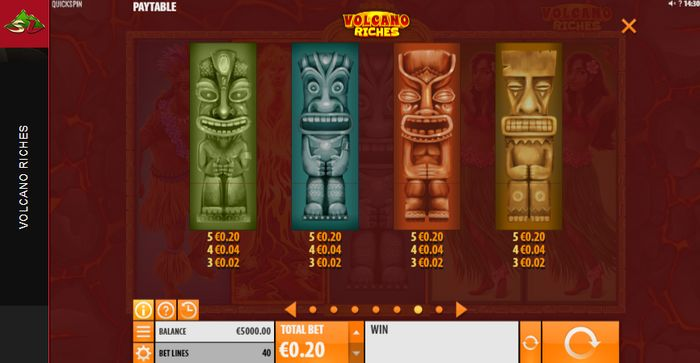 Volcano Riches slot: Lower Symbols