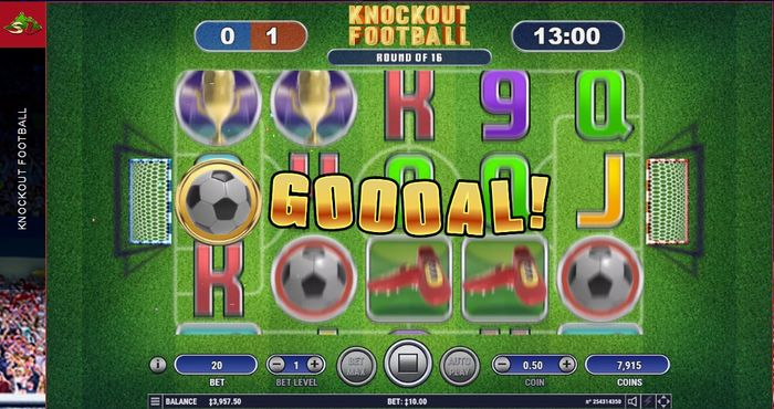 Забит гол в Knockout Free Games в автомате Knockout Football