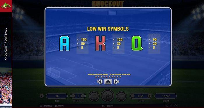 Выплаты по символам в Knockout Football