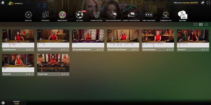 Баккара с живыми дилерами от Evolution Gaming в PlayShangriLa