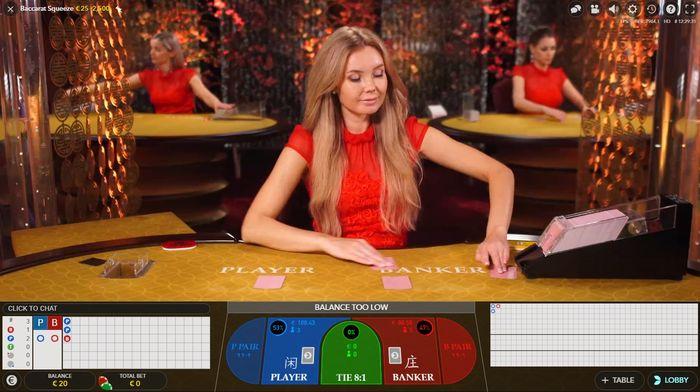 Дилер объясняет правила игры в Live Baccarat Squeeze