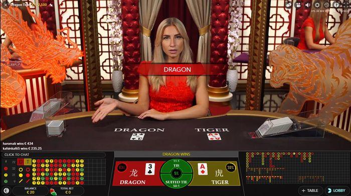 Dragon Tiger от Evolution Gaming: выигрыш дракона