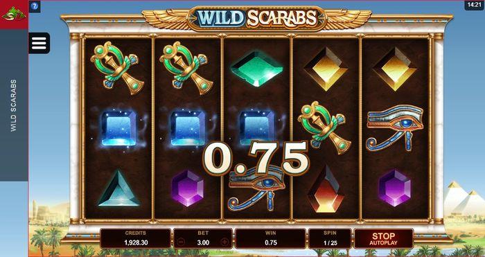 Призовое совпадение в игровом автомате Wild Scarabs