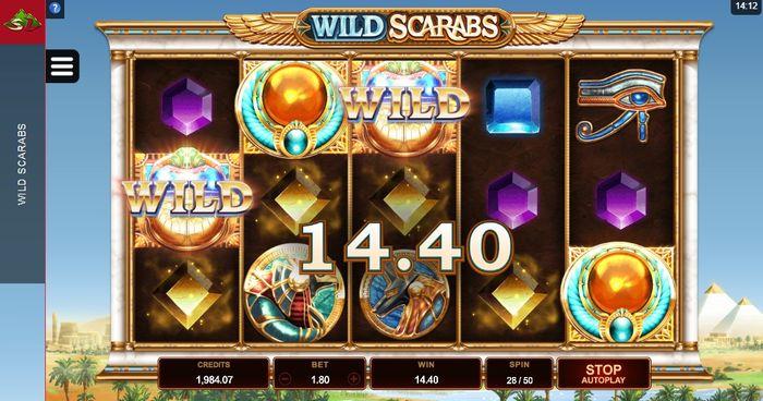 Wild Scarabs: призовая цепочка с участием диких символов