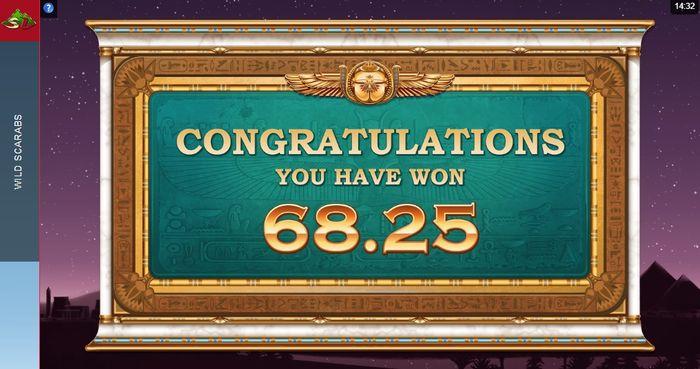 Поздравление с выигрышем в игровом автомате Wild Scarabs